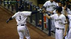 Gallardo belts one of five Brewers homers in rout