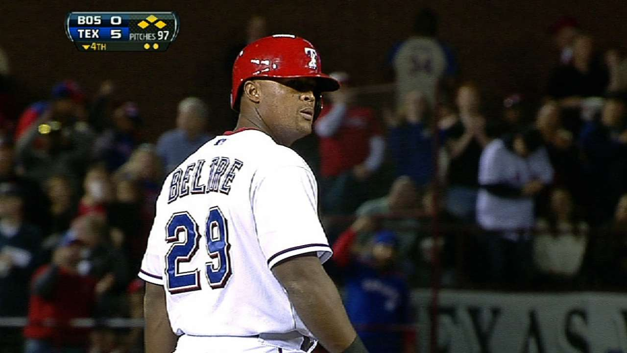 Behind 18-hit attack, Rangers rout Red Sox