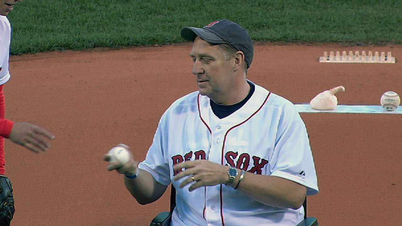 Boston Marathon victim throws out first pitch