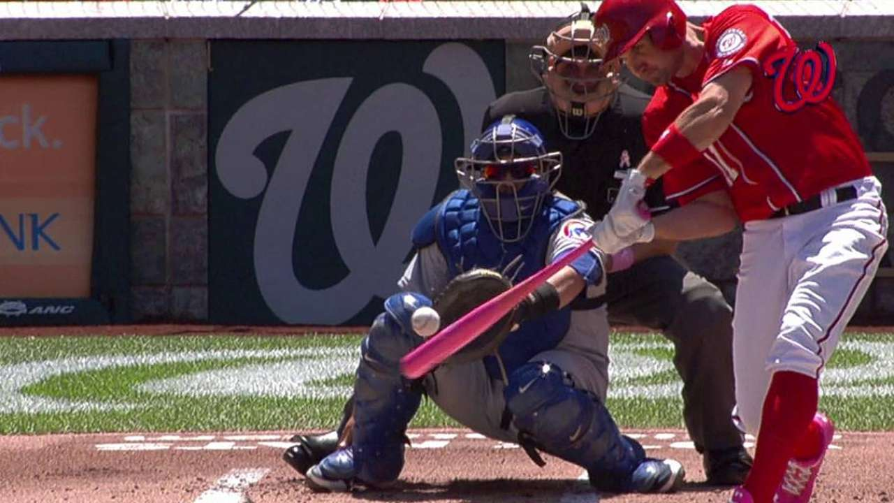 Zimmerman shows support with pink bat, cleats