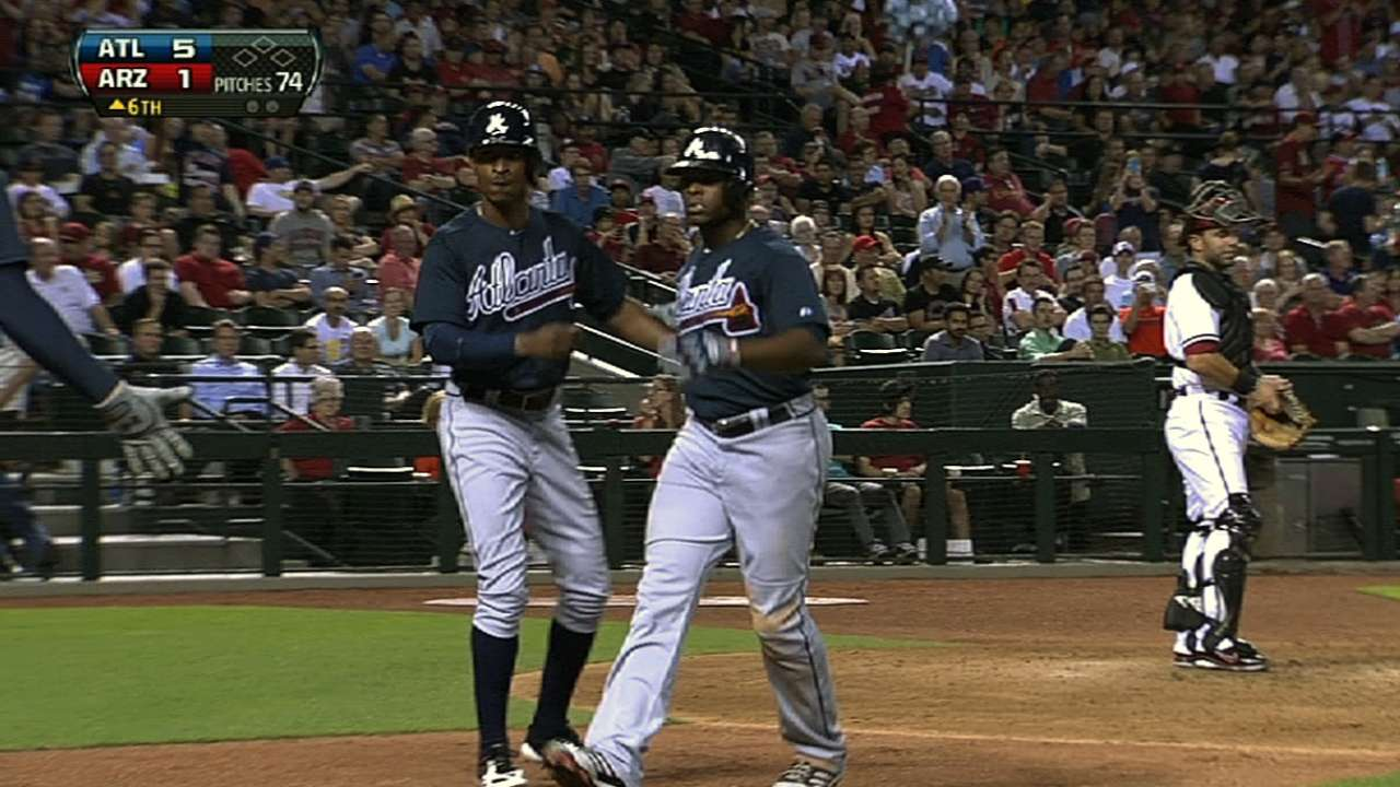 B.J. Upton day to day after being hit by pitch