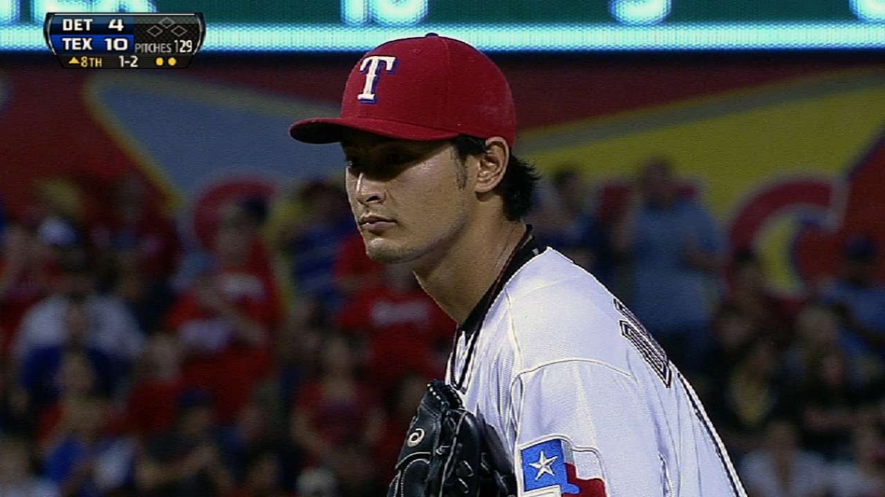 Seven-run third more than enough for Yu, Rangers