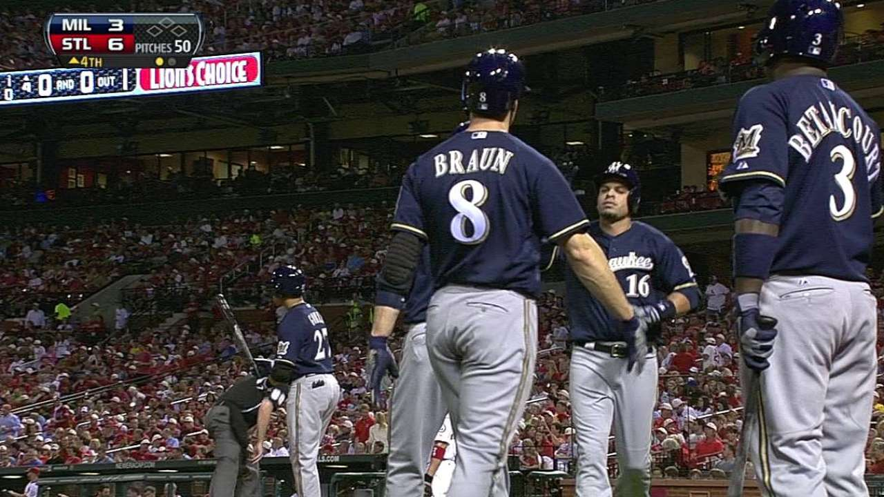 Brewers edged by Cards despite Aramis' big night