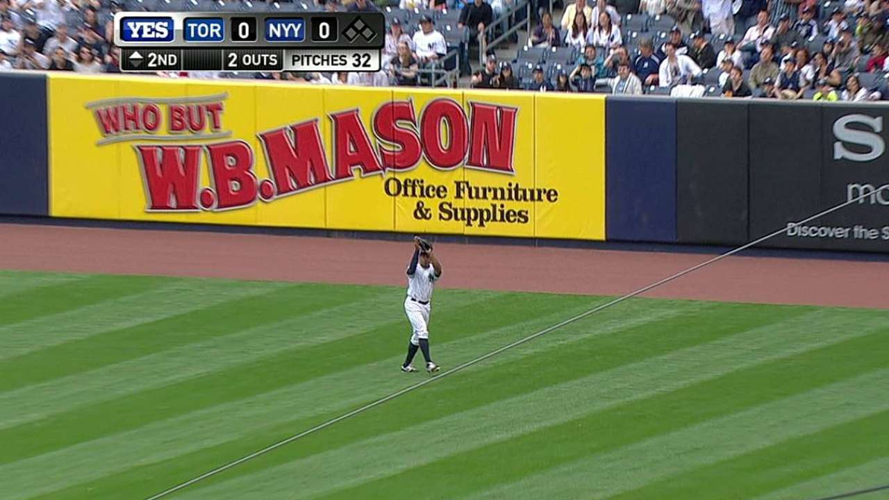 Granderson plays right field for first time in Majors