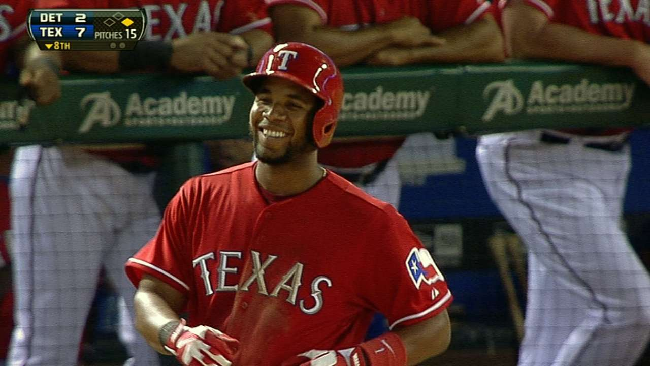 Andrus' five-hit night lights Rangers' fuse