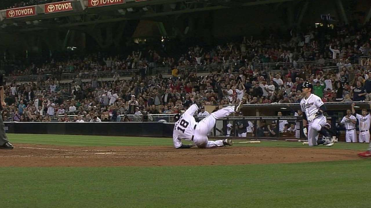 Quentin rests sore knee after awkward slide