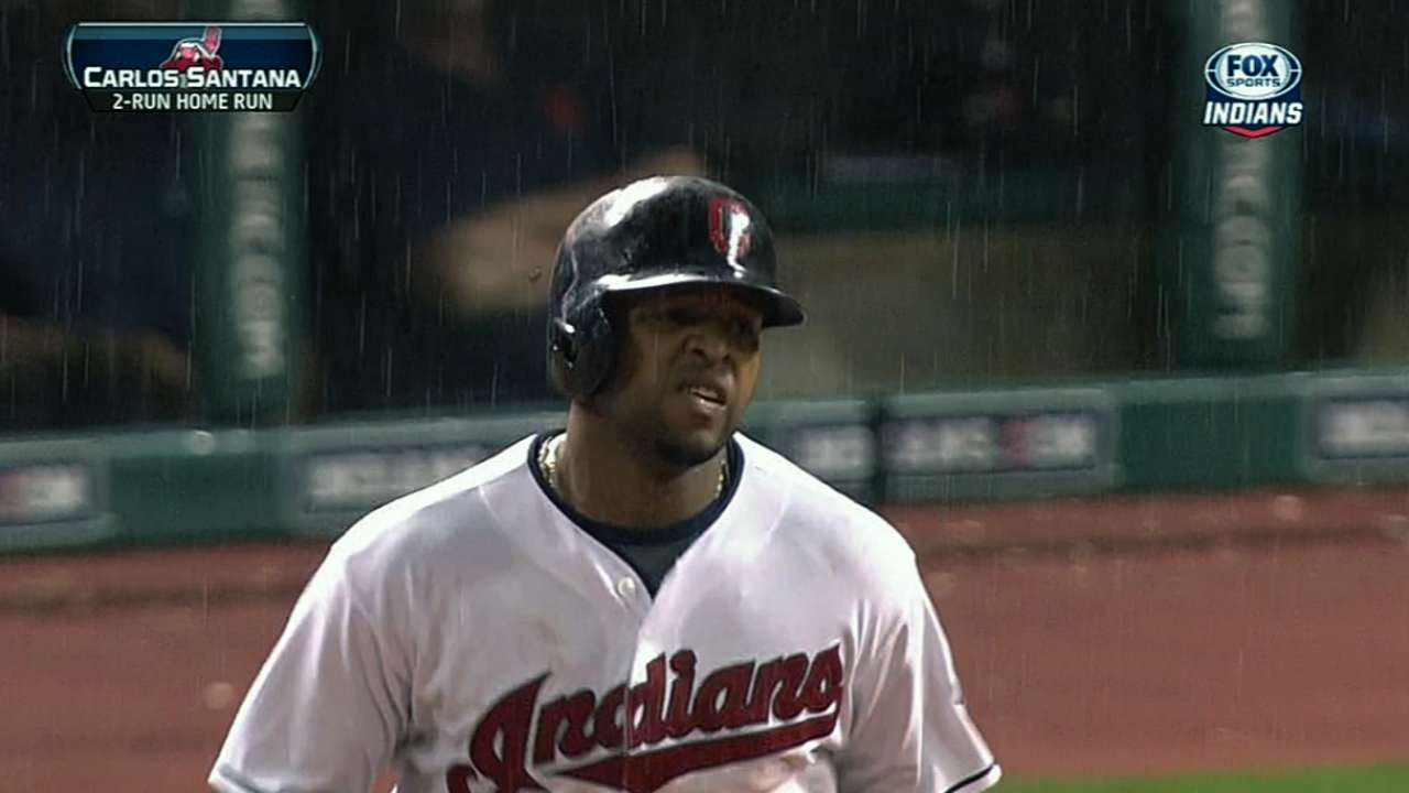 Tribe gets to Verlander, but rally fizzles in rain