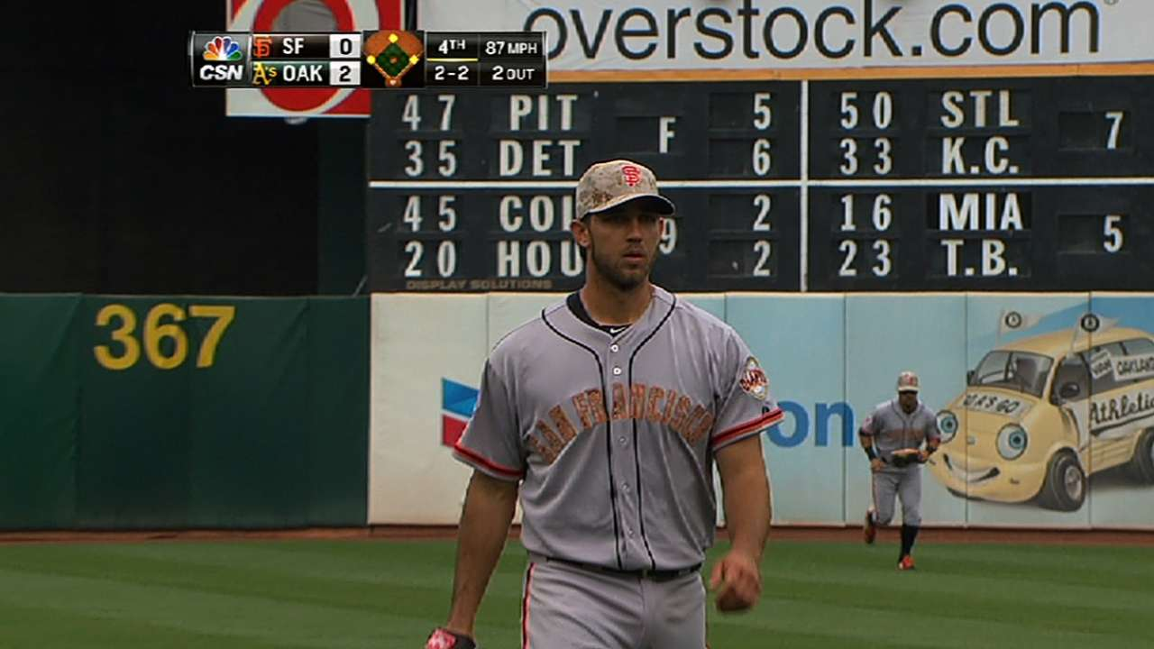 Homer too much for Bumgarner, Giants vs. A's