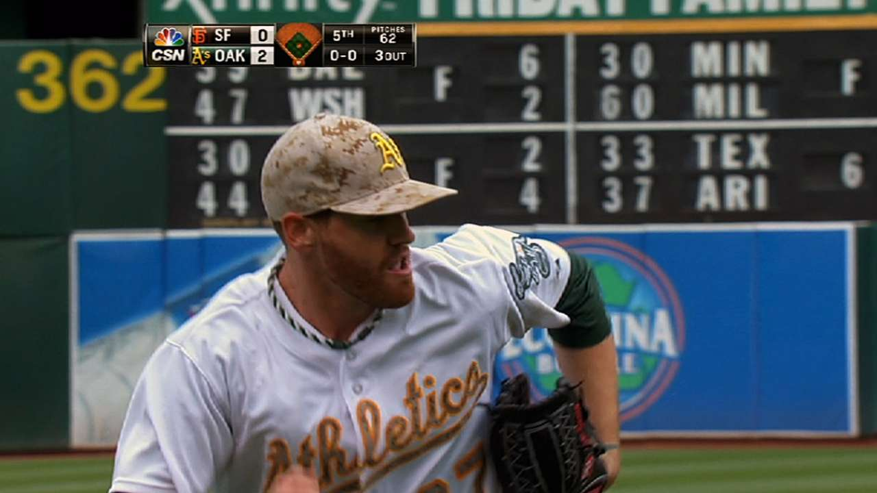 Straily shines as A's win Bay Bridge opener
