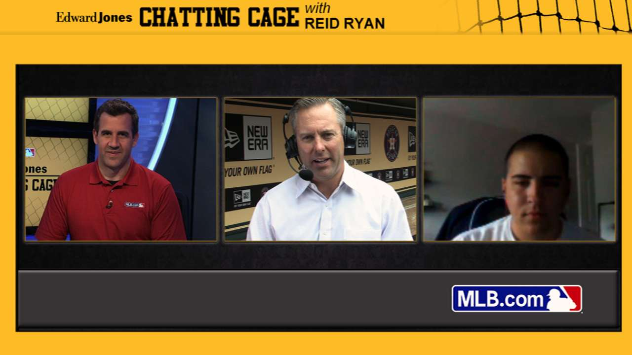 New Astros president Ryan hits Chatting Cage