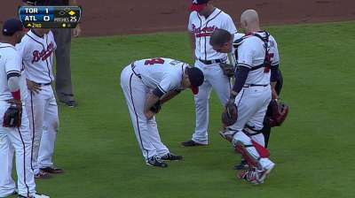 Medlen exits early after getting hit by liner