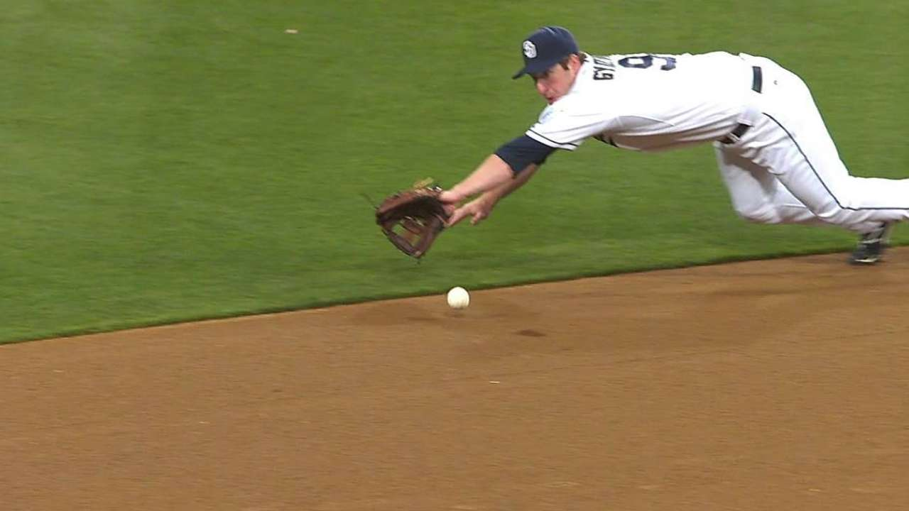 Gyorko's defense quietly parallels big month at plate