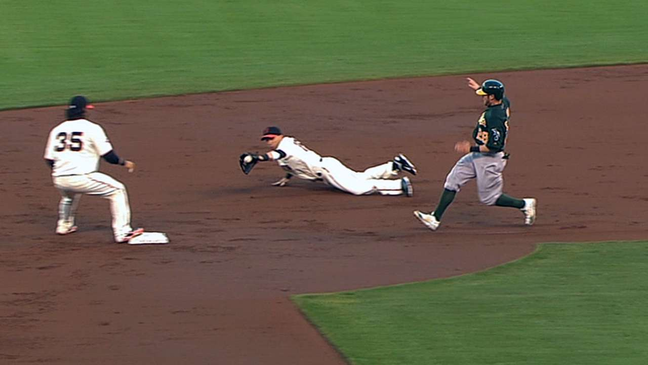 Giants' miscues open door for A's in San Francisco