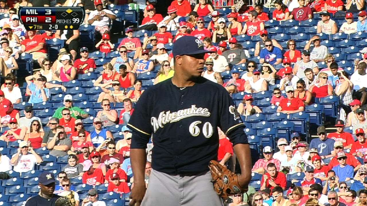 Peralta breaks skid in strong outing vs. Phillies
