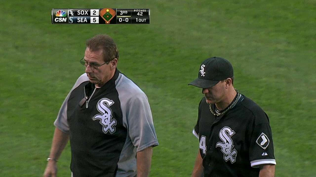 Peavy injured in White Sox eighth straight loss
