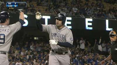Padres hit three homers, but rookie Puig hits back
