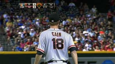 Late homer sinks Giants after Cain's stellar start