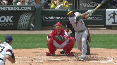 A's held to five hits, fall to White Sox in series finale