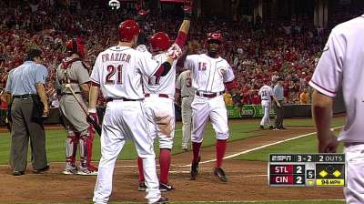 Reds upended by Cardinals in extras