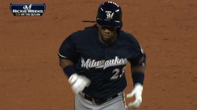 Weeks plays 1,000th MLB game for Brewers
