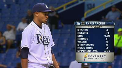 Archer yields just two runs, but Rays fall to Sox