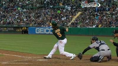 Jaso's odd play kick-starts A's big inning