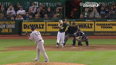 Moss' homers back Straily as A's top Yanks
