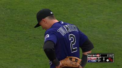 Tulowitzki playing catch, but still can't swing a bat