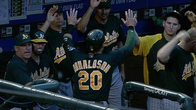 A's edged in opener in Texas as late rally falls short