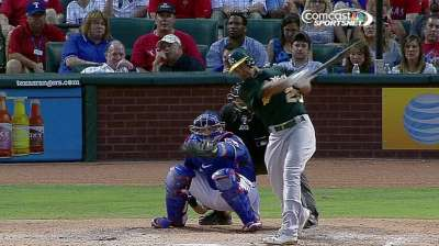 A's lose game, ground in AL West to Rangers