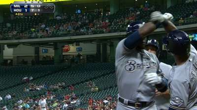 Weeks' eighth-inning blast lifts Brewers