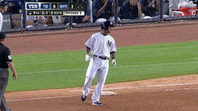Almonte gets first Major League hit in unusual fashion