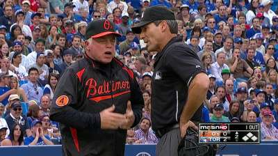 Showalter ejected in second inning vs. Blue Jays