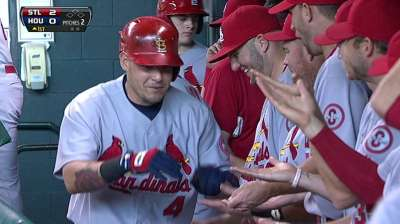 Molina gets break from catching, starts at first base