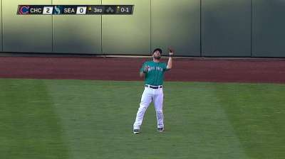 Ackley adapting to center field