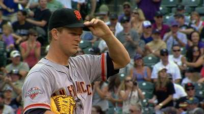 Cain twirls gem, but Giants lose sixth straight