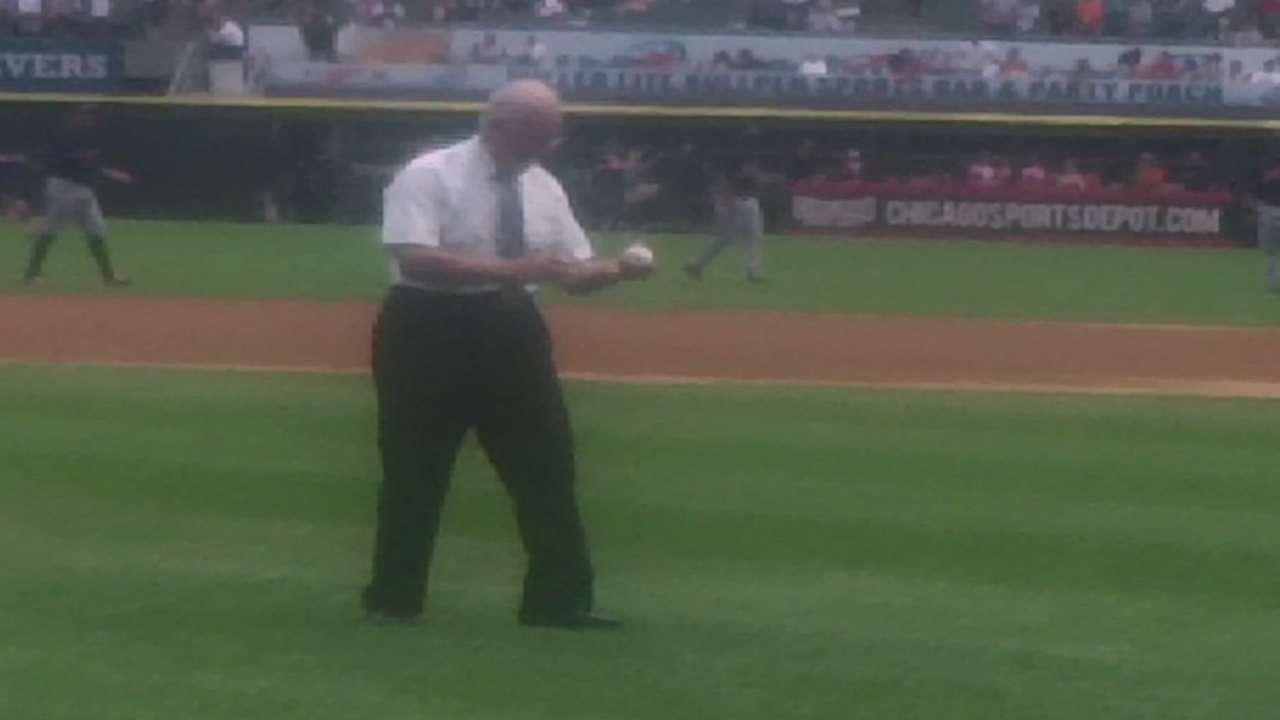 Billy Pierce's first pitch