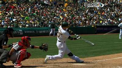 A's bats pick up slack for series win over Cards
