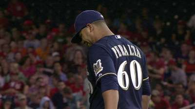 Tight hamstring forces Peralta's early exit