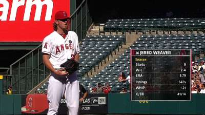 Weaver outduels Lackey as Halos blank Sox