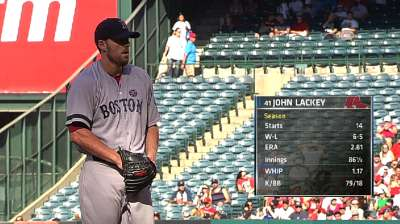 Lackey does his part, but offense held in check