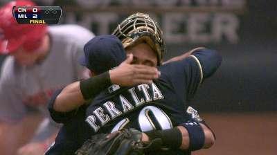 Maldonado keeps Peralta in check on mound
