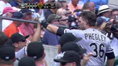 Phegley's slam leads White Sox before benches clear