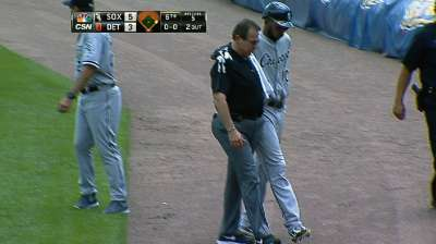 Ramirez leaves with cramping in right leg