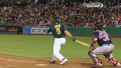 Jaso's experience is invaluable to A's young staff