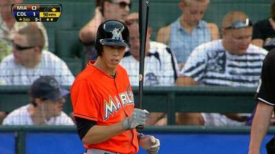 Future staple Yelich delivers win in big league debut