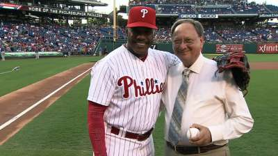 Hagen in good humor after throwing out first pitch