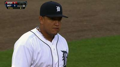 Tigers hold Miggy from lineup with abdominal strain