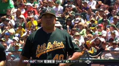 Unlike last year, Colon around for A's stretch drive
