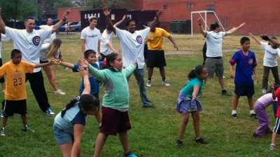 Players visit school to support 'Cubs on the Move'